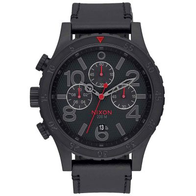NIXON 48-20 Chronograph Black Leather Strap A363-2298