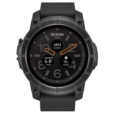 NIXON Mission Smartwatch Black Silicone Strap A1167-001-00