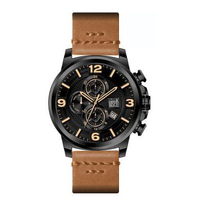 VISETTI Impresario Dual Time Brown Leather Strap WN-631BK