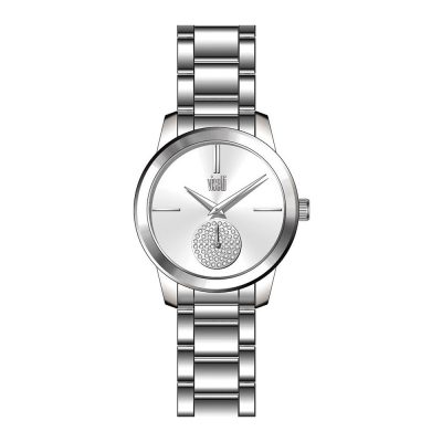 VISETTI Silhouette Crystals Silver Stainless Steel Bracelet PE-476SS