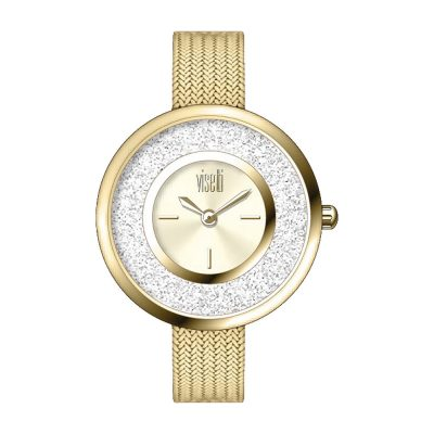 VISETTI Fashionista Crystals Gold Stainless Steel Bracelet PE-480GG