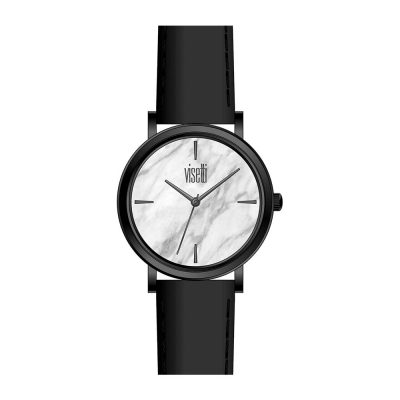 VISETTI Mar Bling Black Leather Strap ZE-911BW