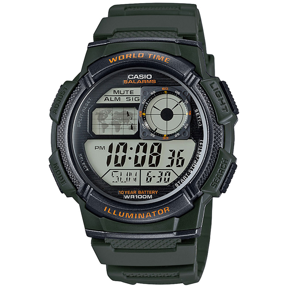 CASIO Collection Digital Khaki Rubber Strap AE-1000W-3AVEF