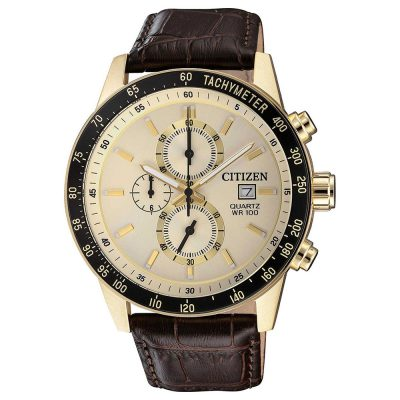CITIZEN Chronograph Brown Leather Strap AN3602-02A