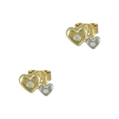 Δίχρωμα Χρυσά Παιδικά Σκουλαρίκια Καρδούλες Κ9 PSK337