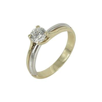 Δίχρωμο Χρυσό Μονόπετρο Δαχτυλίδι Κ14 DX640
