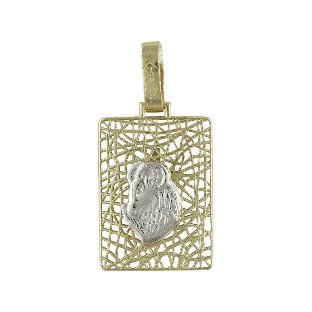 Ζώδιο Κριός με Σταυρό Από Δίχρωμο Χρυσό Κ14 ZD201