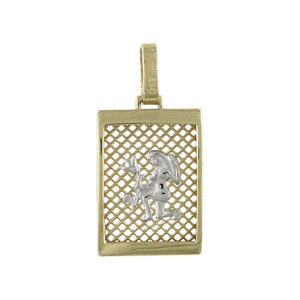 Ζώδιο Παρθένος Από Δίχρωμο Χρυσό Κ14 ZD106