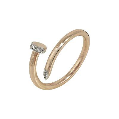 Ροζ Χρυσό Δαχτυλίδι Νail Cuff K9 DX630