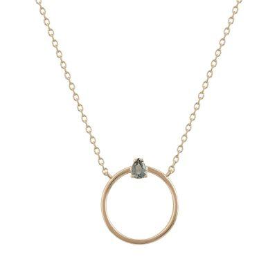 Ροζ Χρυσό Κολιέ Κύκλος με Πέτρα Κ9 KL651