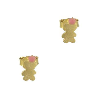 Κίτρινα Χρυσά Παιδικά Σκουλαρίκια Αρκουδάκι Κ9 PSK321