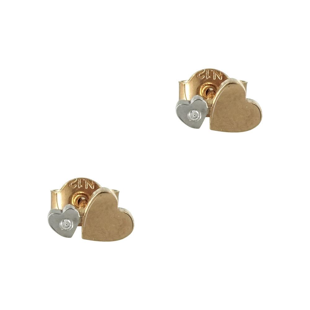 Λευκά/Ροζ Χρυσά Παιδικά Σκουλαρίκια Καρδούλες Κ9 PSK327