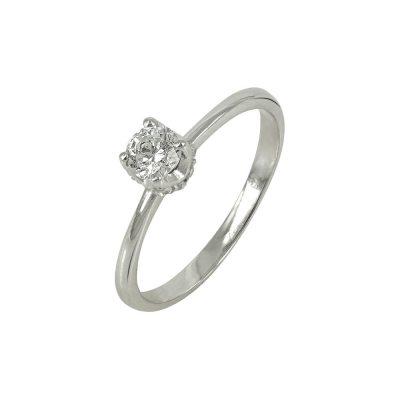 Λευκόχρυσο Μονόπετρο Δαχτυλίδι Κ14 DX639