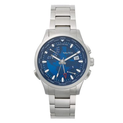 NAUTICA Shangai World Time Silver Stainless Steel Bracelet NAPSHG003