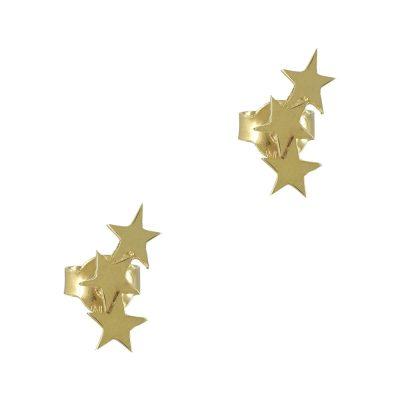 Κίτρινα Χρυσά Παιδικά Σκουλαρίκια Αστεράκια Κ9 PSK335