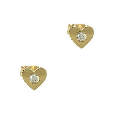 Κίτρινα Χρυσά Παιδικά Σκουλαρίκια Kαρδούλα με Πέτρα Κ9 PSK324