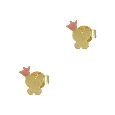 Κίτρινα Χρυσά Παιδικά Σκουλαρίκια Πεταλούδα Κ9 PSK322