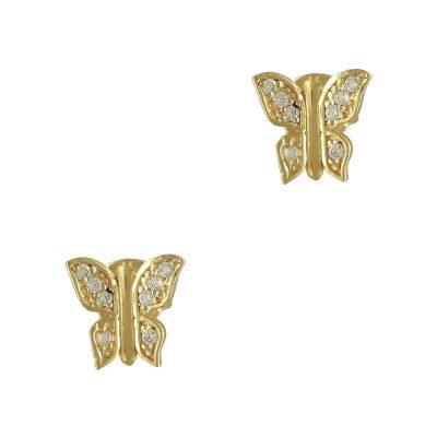 Κίτρινα Χρυσά Παιδικά Σκουλαρίκια Πεταλούδα Κ9 PSK338