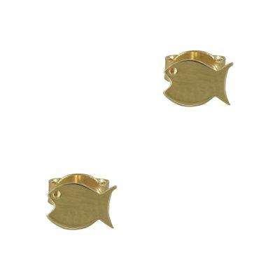 Κίτρινα Χρυσά Παιδικά Σκουλαρίκια Φάλαινα Κ9 PSK329