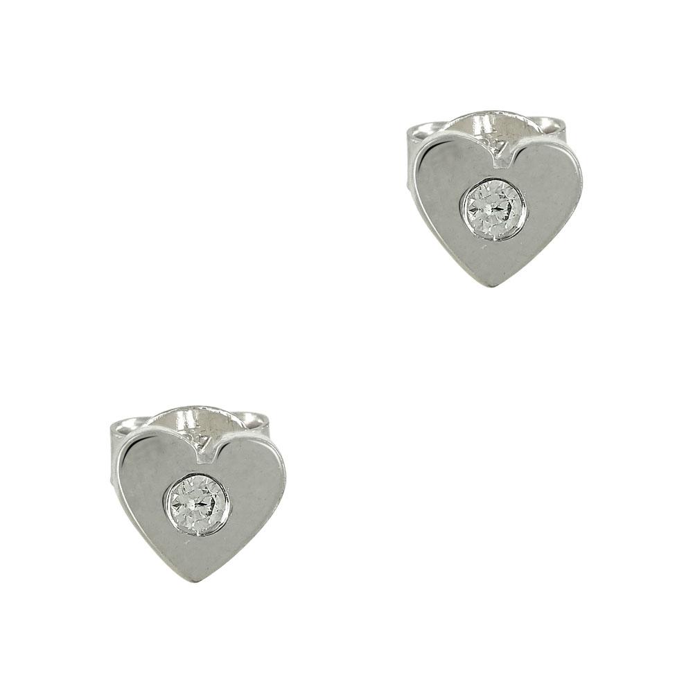 Λευκόχρυσα Παιδικά Σκουλαρίκια Καρδούλα με Πέτρα K9 PSK323