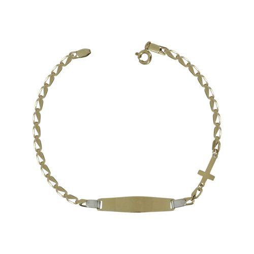 Δίχρωμη Χρυσή Παιδική Ταυτότητα Με Σταυρουδάκι Κ14 TVR328
