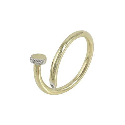 Κίτρινο Χρυσό Δαχτυλίδι Νail Cuff K9 DX631