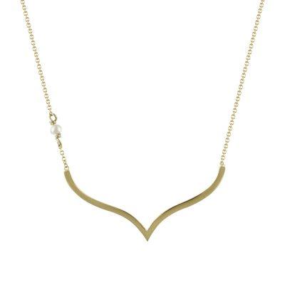 Κίτρινο Χρυσό Κολιέ με Μαργαριτάρι Κ9 KL660