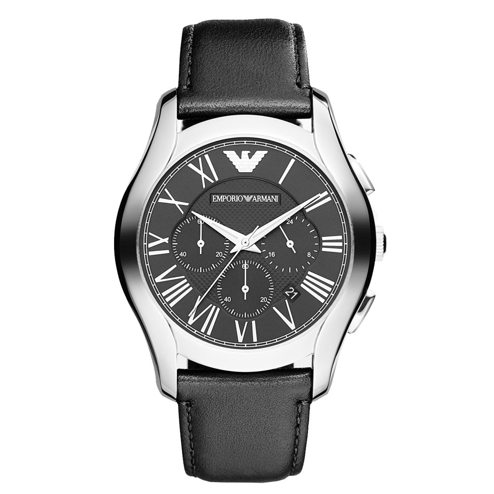 EMPORIO ARMANI Chronograph Black Leather Strap AR1700