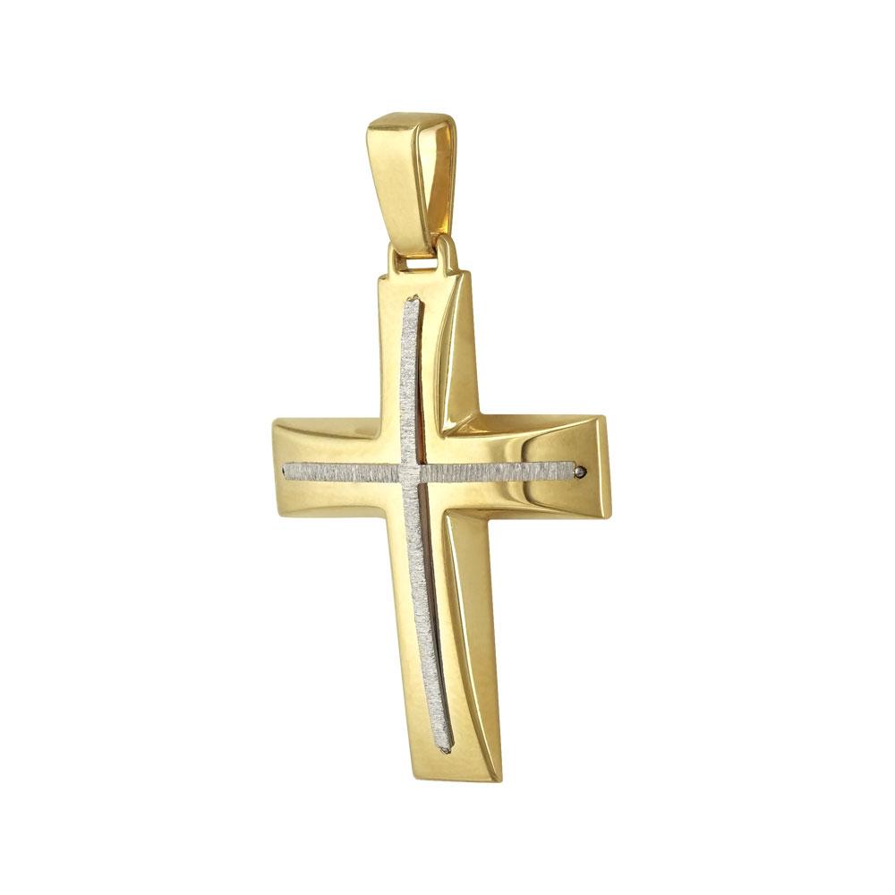 Σταυρός Βάπτισης Ανδρικός Σε Δίχρωμο Χρυσό 14 Καρατίων ST2338