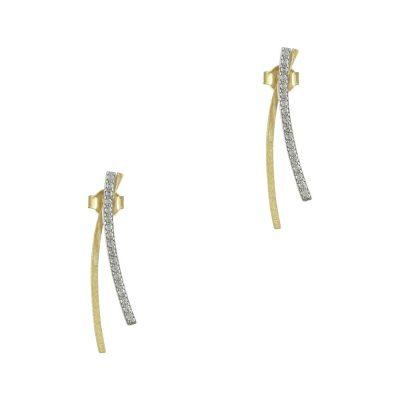 Δίχρωμα Χρυσά Σκουλαρίκια Κ9 SK745