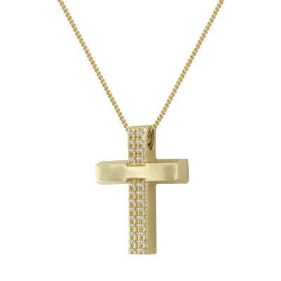 Σταυρός Βάπτισης Κ14 Δίχρωμος Χρυσός Με Πέτρες Γυναικείος ST2334