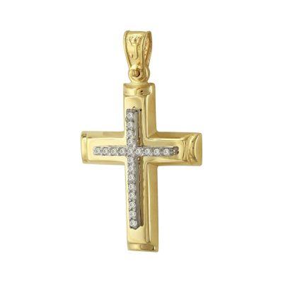 Σταυρός Βάπτισης Κ14 Δίχρωμος Χρυσός Γυναικείος ST2348