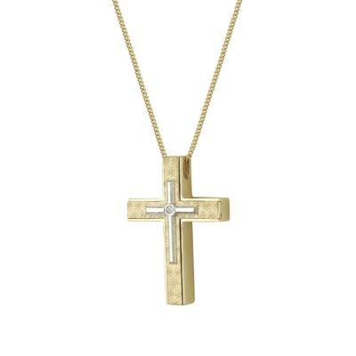 Σταυρός Βάπτισης Κ14 Δίχρωμος Χρυσός Με Πέτρες Γυναικείος ST2330