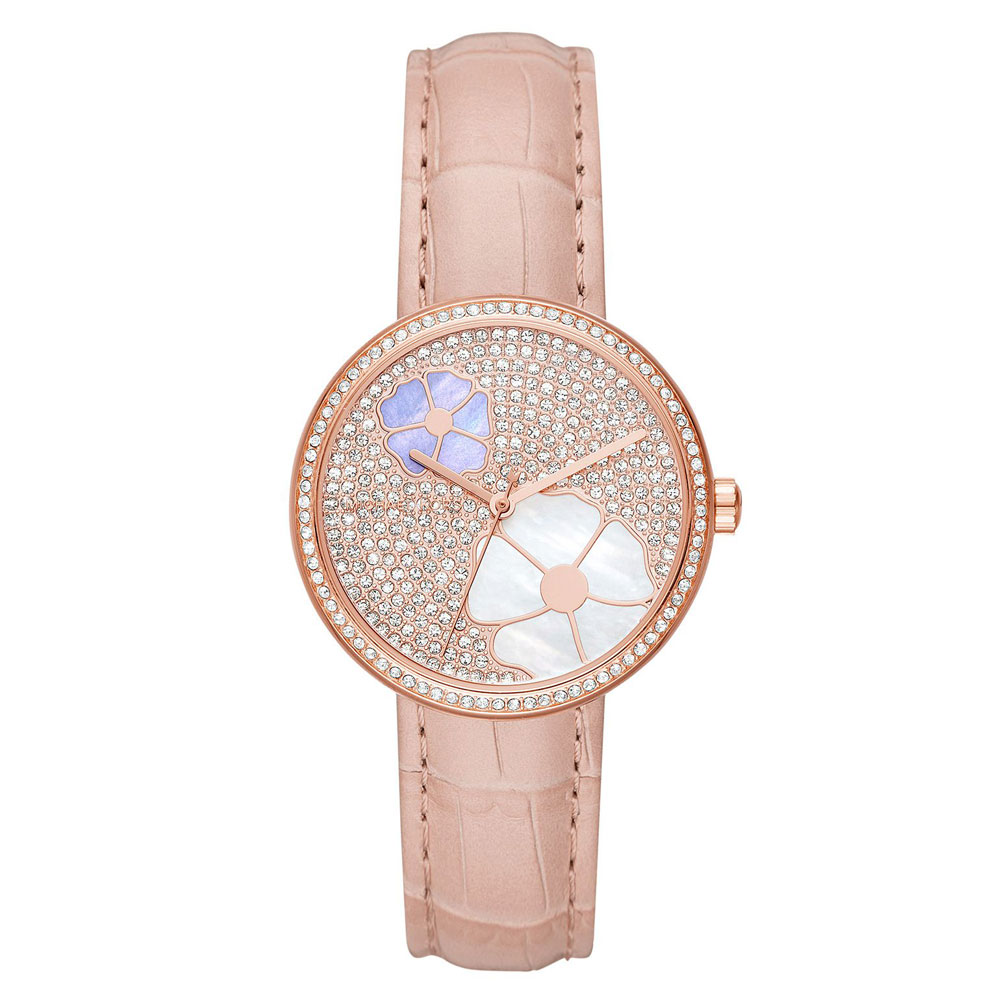 MICHAEL KORS Courtney Crystals Pink Leather Strap MK2718