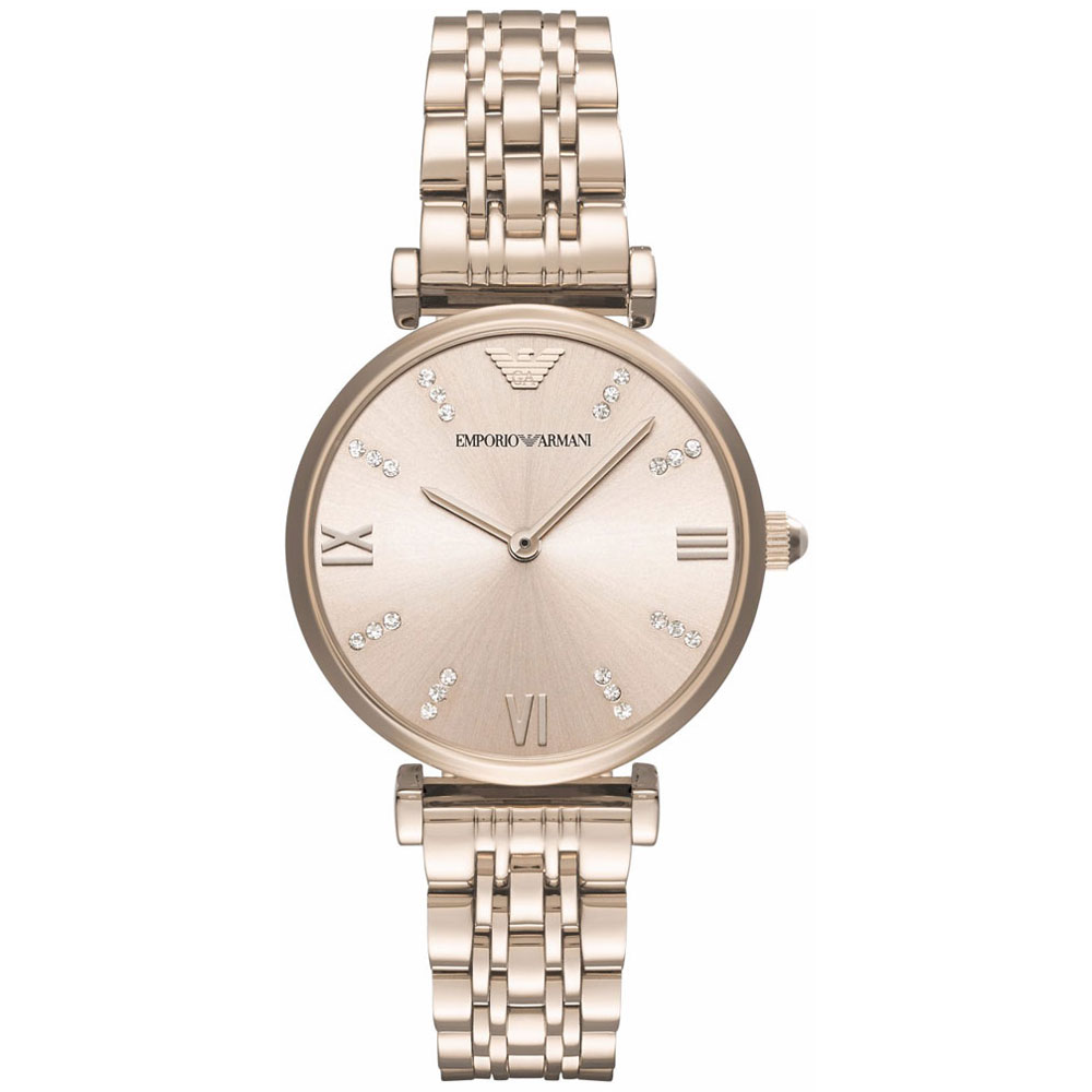 Emporio Armani Gianni T-Bar Crystals Rose Gold Stainless Steel Bracelet AR11059