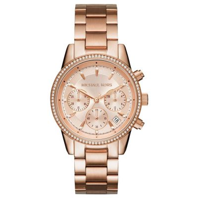 MICHAEL KORS Ritz Crystals Rose Gold Stainless Steel Chronograph MK6357