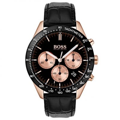 Hugo Boss Talent Black Leather Strap Watch 1513580