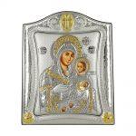 Ασημένια Εικόνα με την Παναγία με Επίχρυσες Λεπτομέρειες σε Καφέ Ξύλο ΜΑ/Ε3409/1Χ