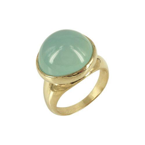 Li la lo Κίτρινο Ασημένιο Δαχτυλίδι Με Πράσινη Πέτρα DX642