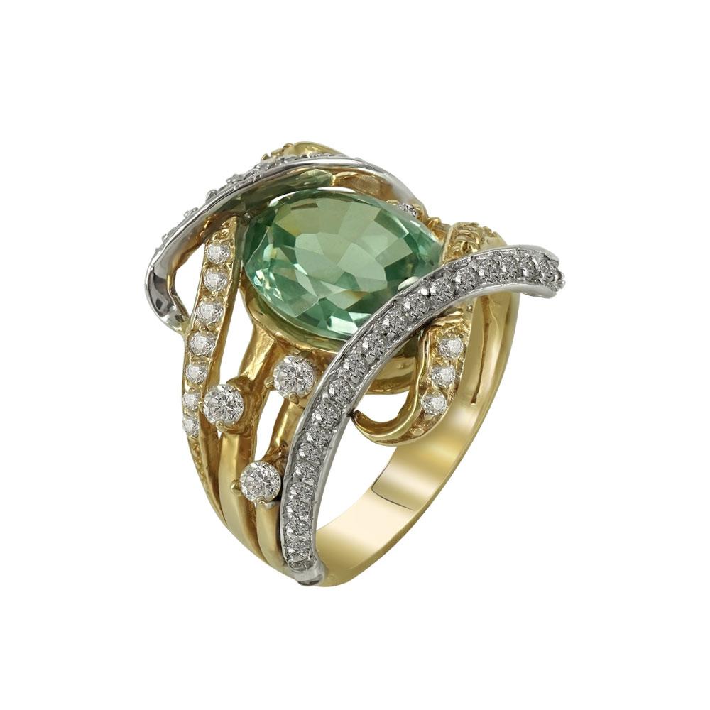 Δαχτυλίδι Με Σμαραγδίτη Από Δίχρωμο Χρυσό Κ14 DX663