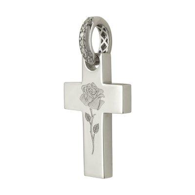 Σταυρός Βάπτισης Γυναικείος Σε Λευκό Χρυσό 14 Καρατίων Με Πέτρες ST2363 2a83b42457e