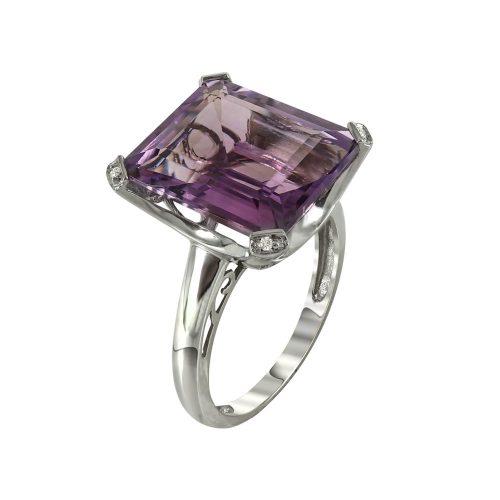 Δαχτυλίδι Με Διαμάντια Brilliant και Αμέθυστο K14 DDX228