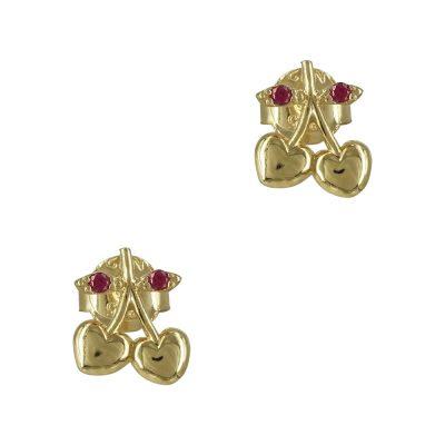 Κίτρινα Χρυσά Παιδικά Σκουλαρίκια Kερασάκια Κ9 PSK342