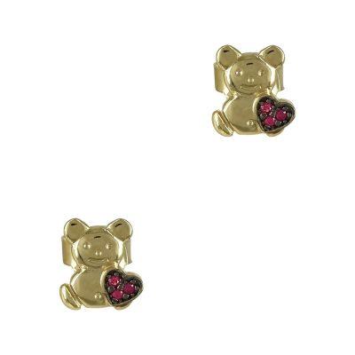 Κίτρινα Χρυσά Παιδικά Σκουλαρίκια Αρκουδάκι Κ9 PSK344