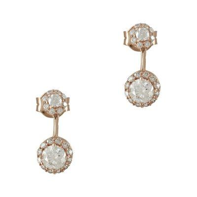 Ροζ Χρυσά Σκουλαρίκια Με Πέτρες Κ14 SK751