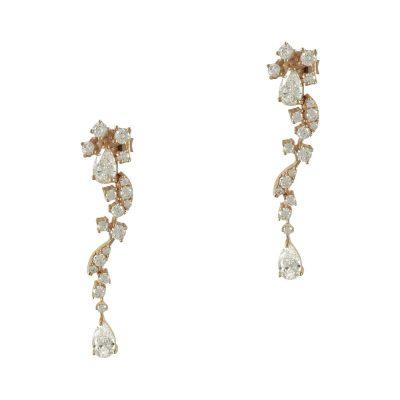 Ροζ Χρυσά Σκουλαρίκια Με Πέτρες Κ14 SK752