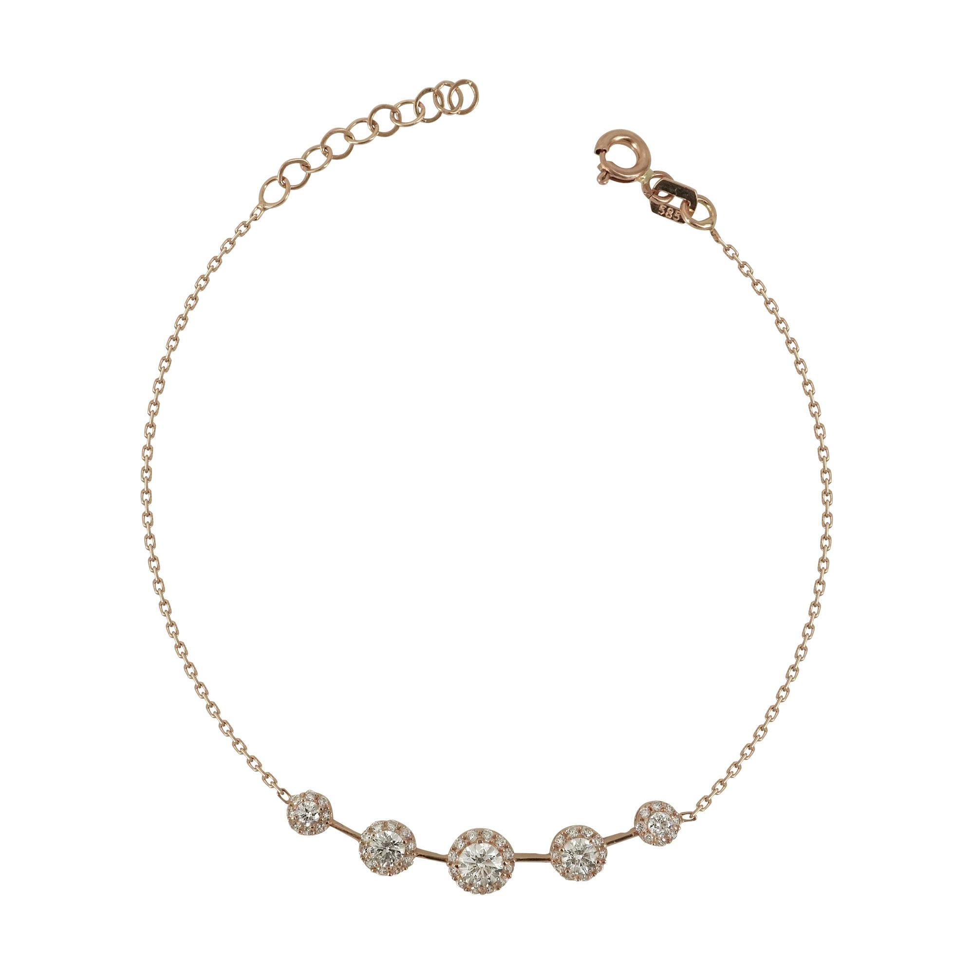 Ροζ Χρυσό Βραχιόλι Με Πέτρες Κ14 VR498