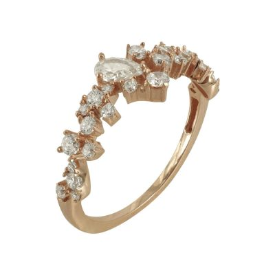 Ροζ Χρυσό Δαχτυλίδι Με Πέτρες Κ14 DX646