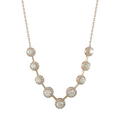 Ροζ Χρυσό Κολιέ Με Πέτρες Κ14 KL674