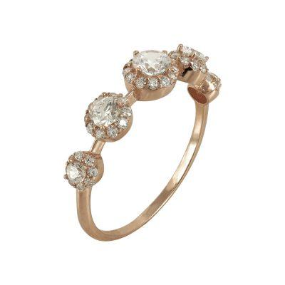 Ροζ Χρυσό Δαχτυλίδι Με Πέτρες Κ14 DX645